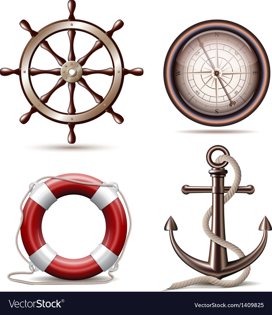 Set of marine symbols vector | Price: 3 Credit (USD $3)