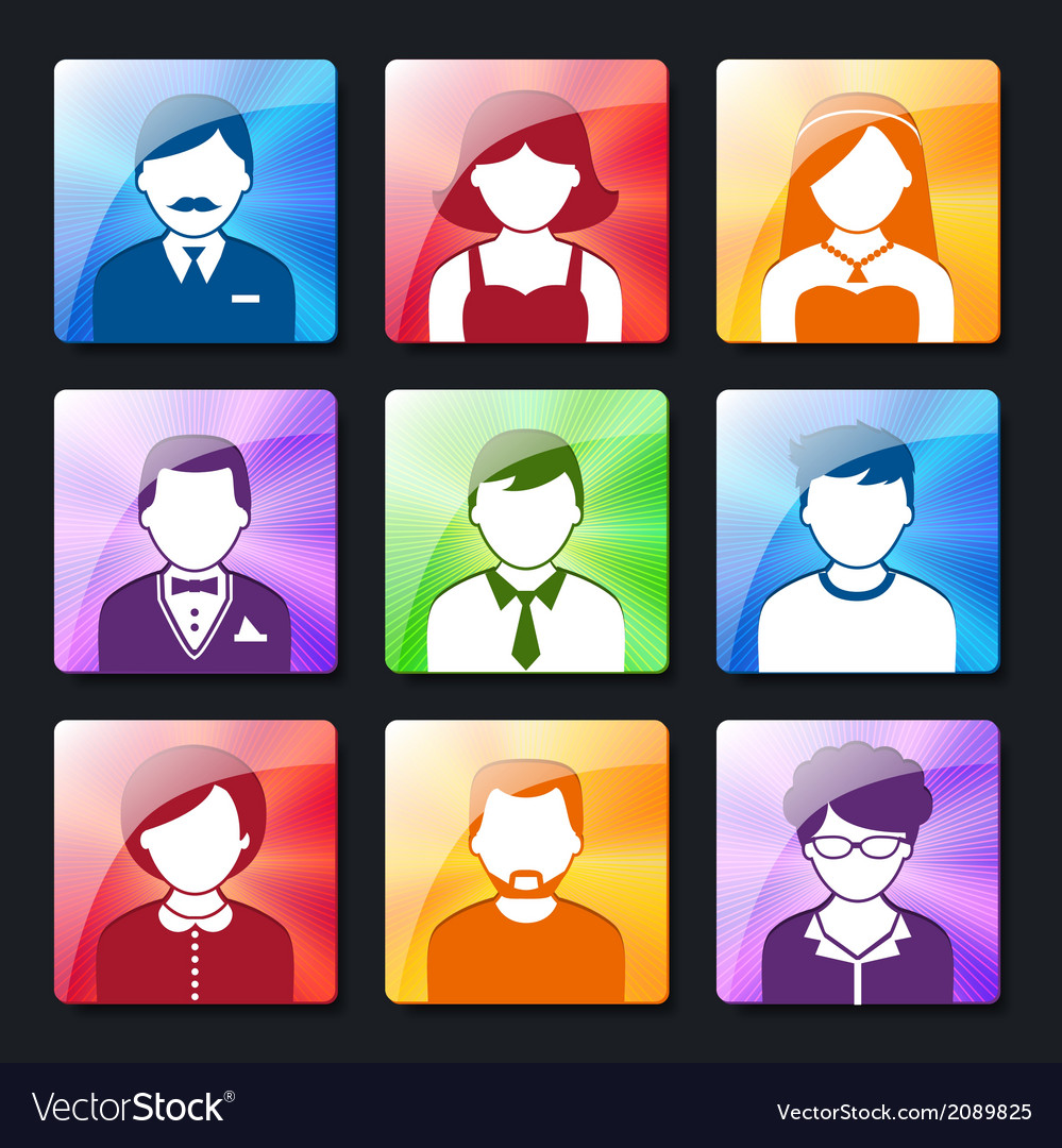 Social avatar icons set vector | Price: 1 Credit (USD $1)