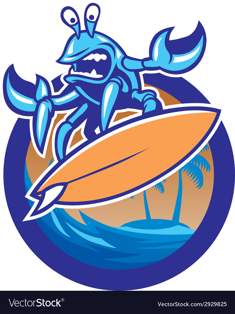 Surfing crab vector | Price: 3 Credit (USD $3)