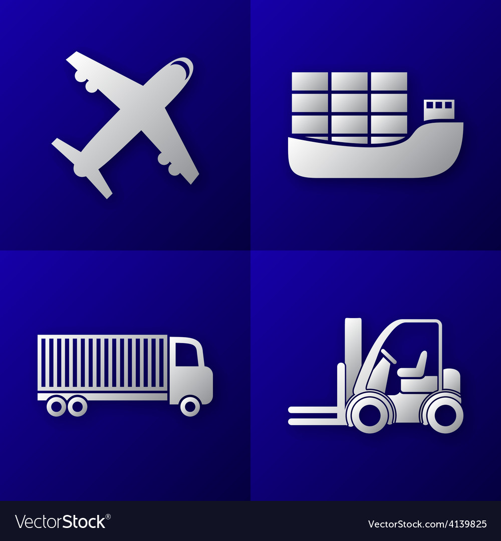 Transport export import icon set vector | Price: 1 Credit (USD $1)