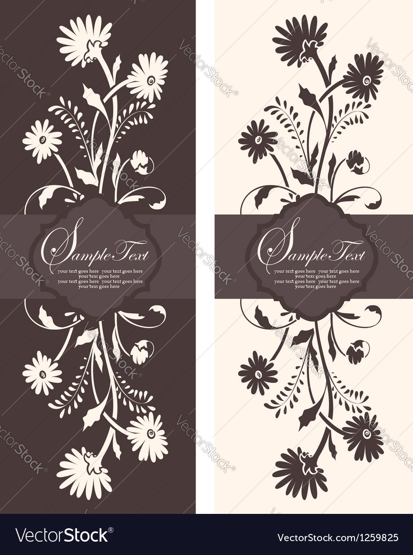 Two floral invitation card vector | Price: 1 Credit (USD $1)