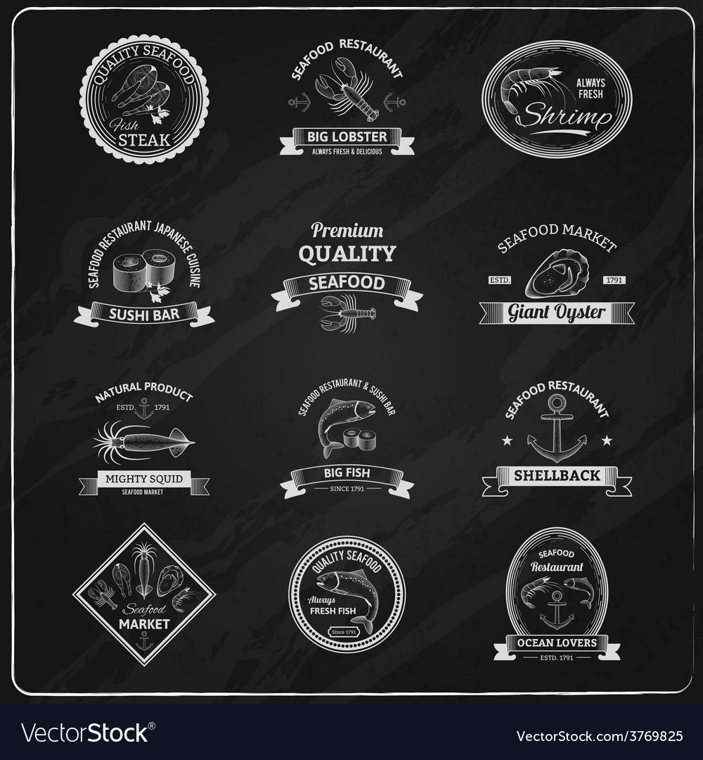 Vintage seafood badges chalkboard vector | Price: 1 Credit (USD $1)