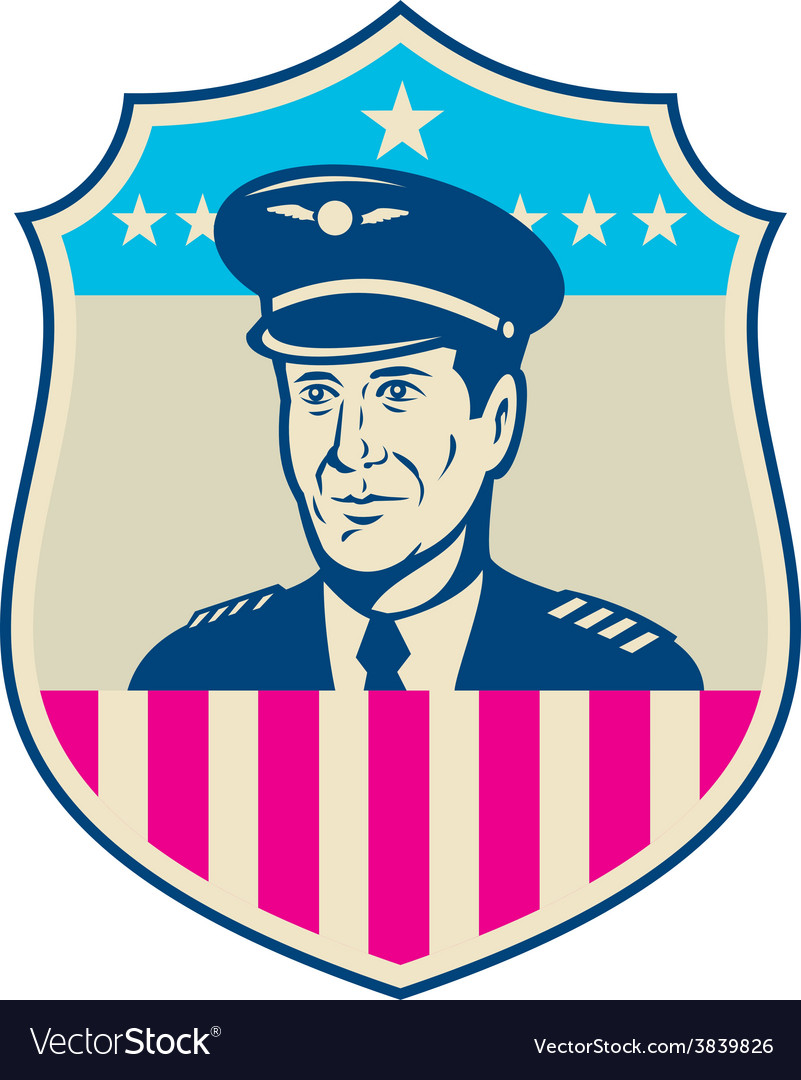 American airline pilot aviator usa flag shield vector   Price: 1 Credit (USD $1)