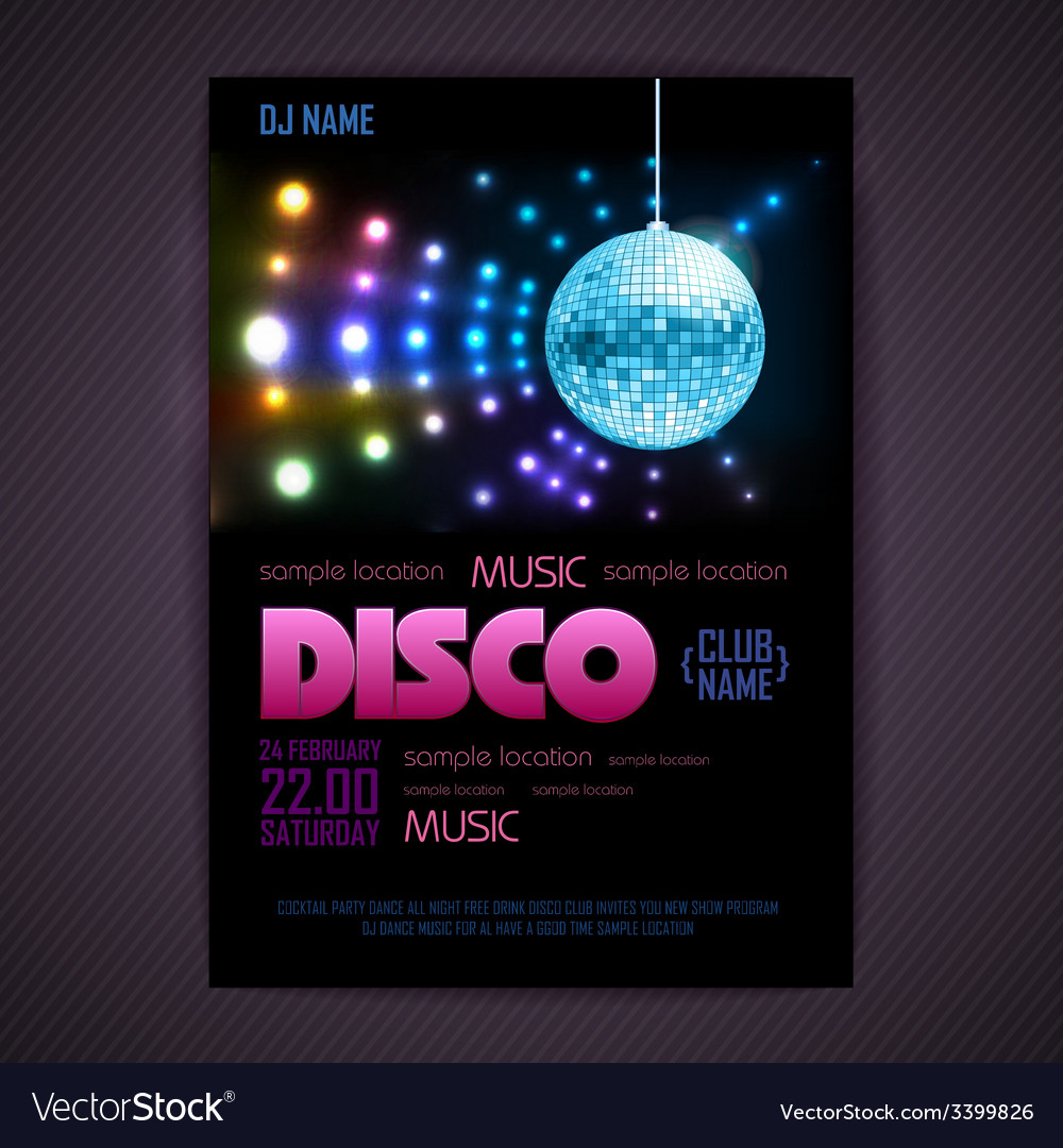 Disco poster neon background vector | Price: 3 Credit (USD $3)