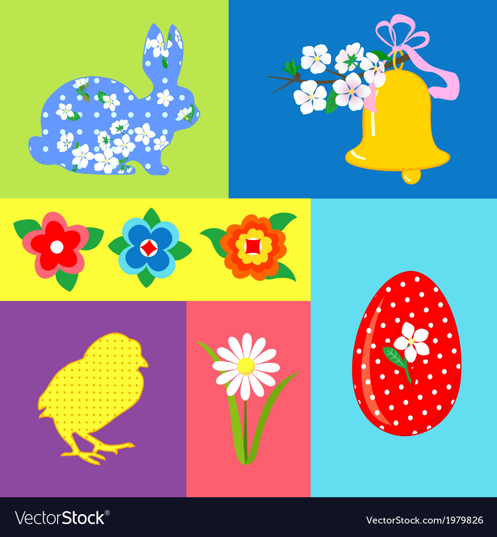Easter retro set element vector | Price: 1 Credit (USD $1)