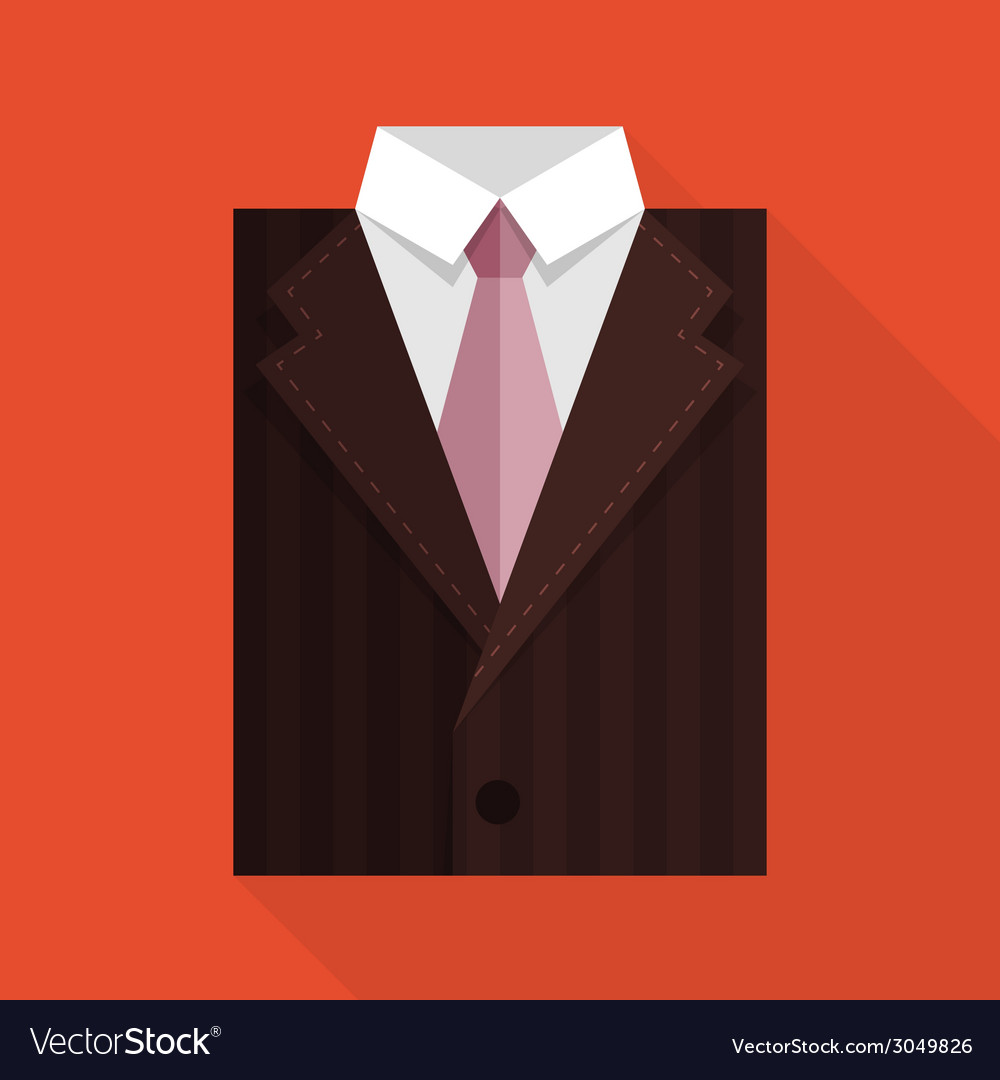 Flat business jacket and tie brown color vector | Price: 1 Credit (USD $1)