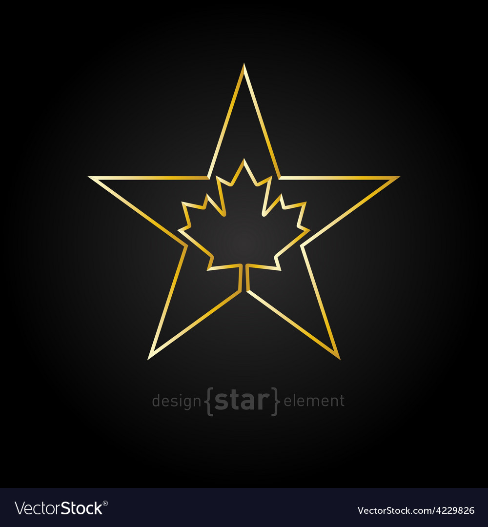 Golden star with canadian maple leaf on black vector | Price: 1 Credit (USD $1)