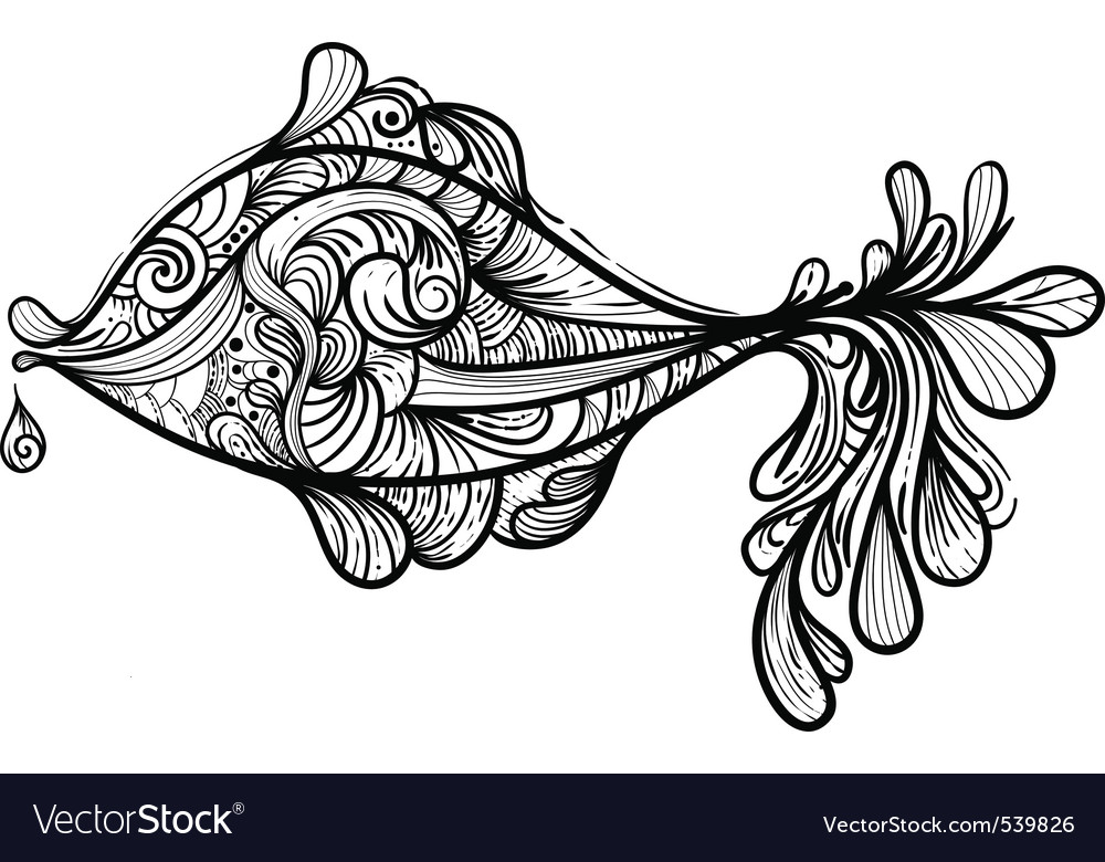 Hand drawn fish vector | Price: 1 Credit (USD $1)