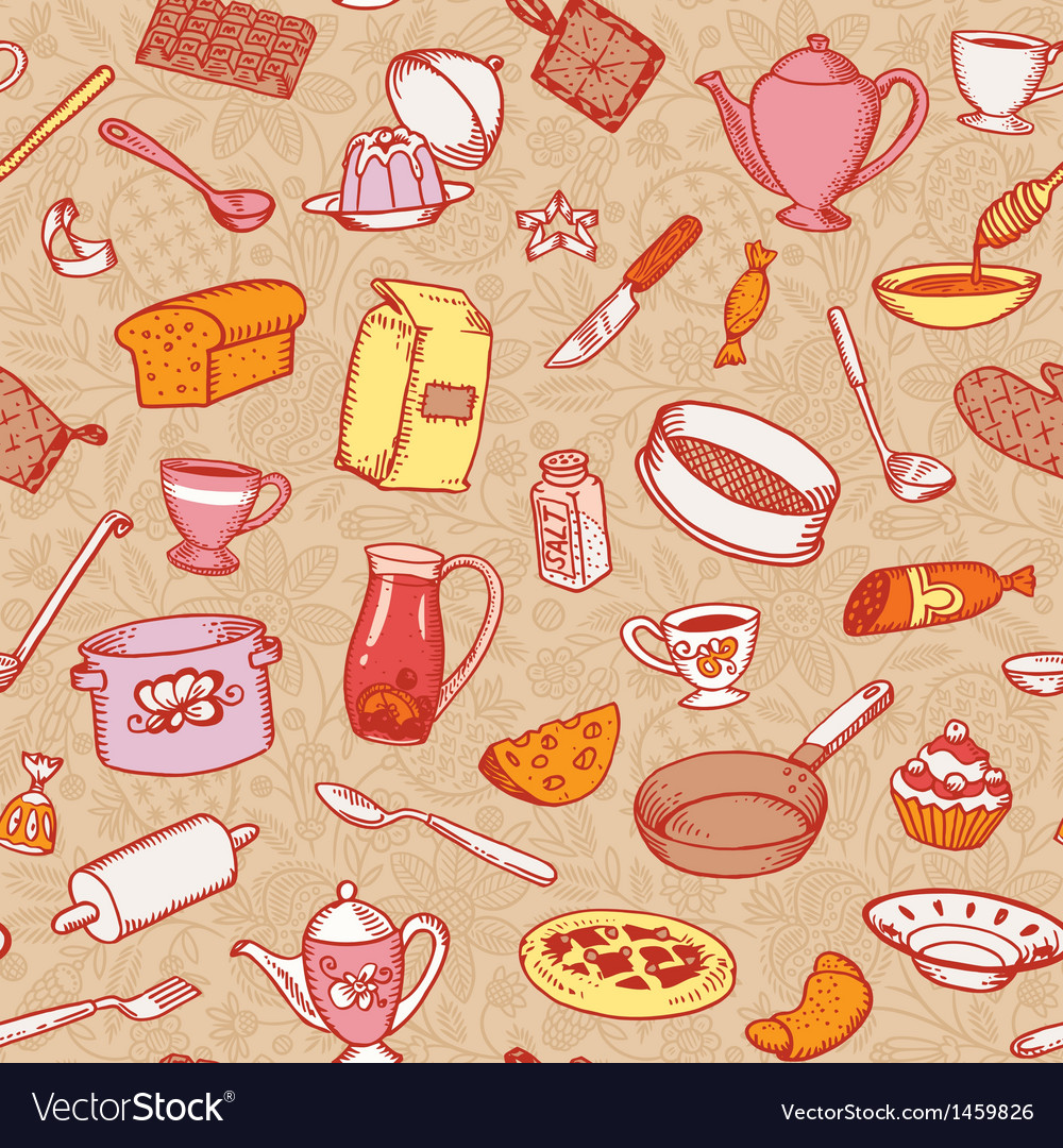 Kitchen and cooking pattern vector | Price: 1 Credit (USD $1)
