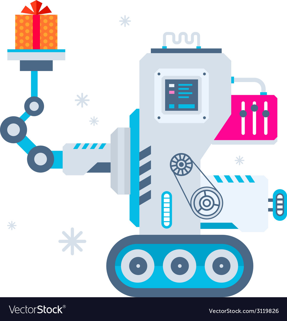 Machine holds christmas present vector | Price: 1 Credit (USD $1)