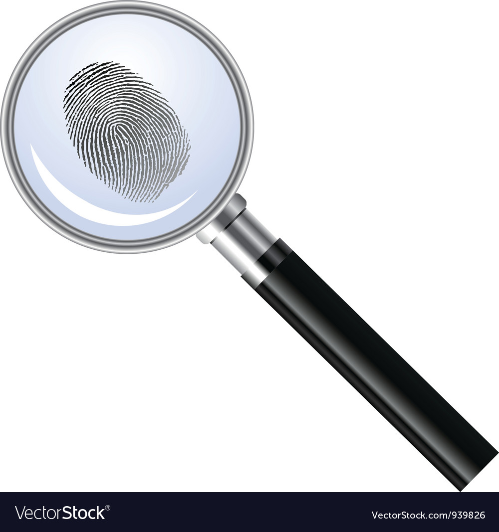 Magnifying glass searching for fingerprint vector | Price: 1 Credit (USD $1)