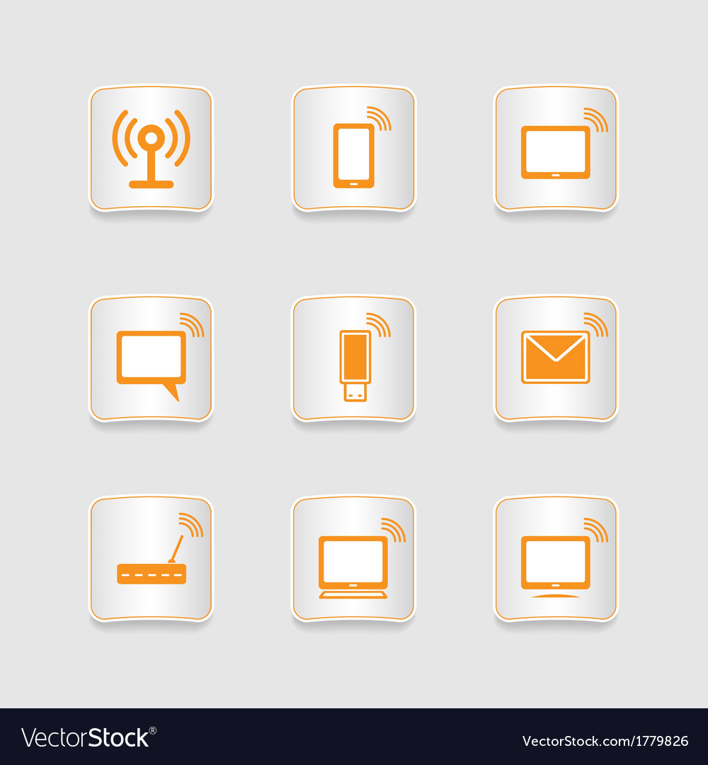 Paper icons set wireless connection vector | Price: 1 Credit (USD $1)