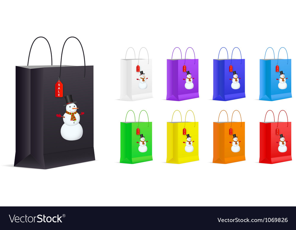 Set of shopping bags with snowman and sale label vector | Price: 1 Credit (USD $1)