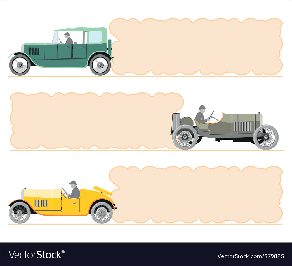 Set of vintage cars and frame in the form o vector | Price: 1 Credit (USD $1)