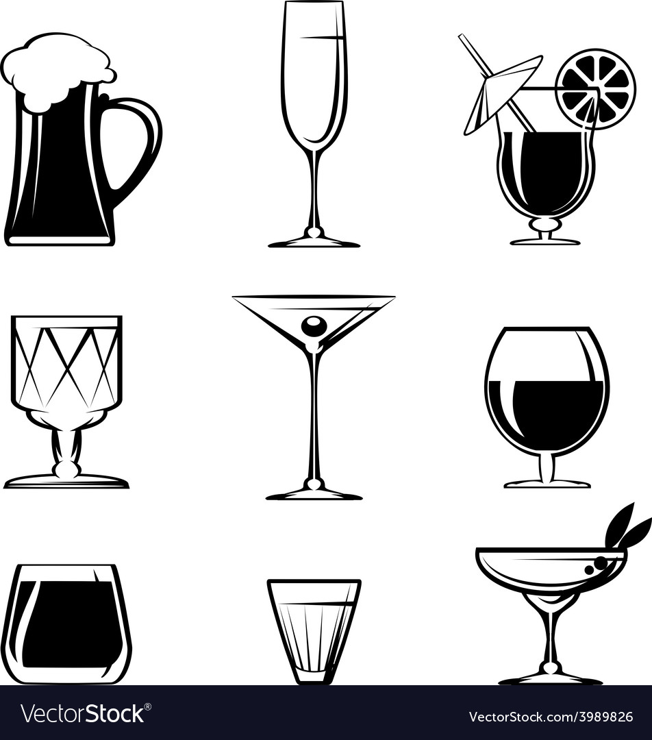 Silhouette beverage glass icons on white vector | Price: 1 Credit (USD $1)
