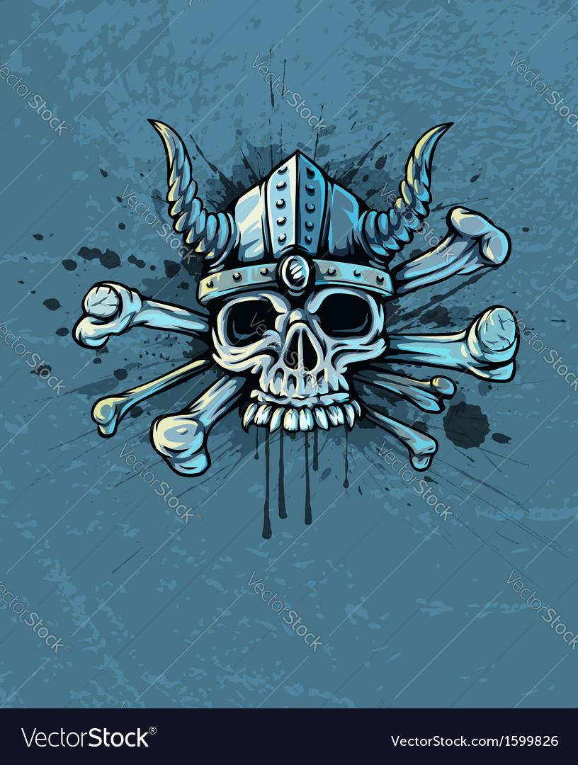 Skull in helmet with horns vector | Price: 1 Credit (USD $1)