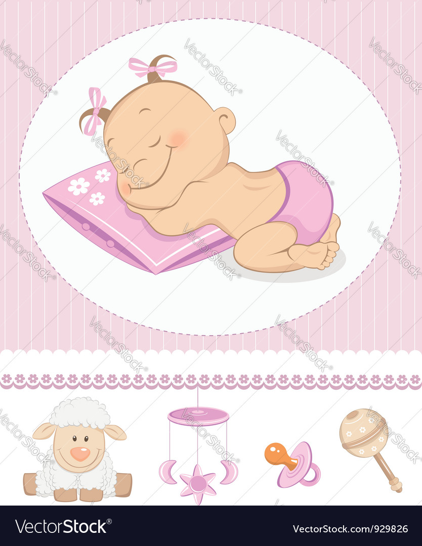 Sleeping sweet girl arrival vector | Price:  Credit (USD $)