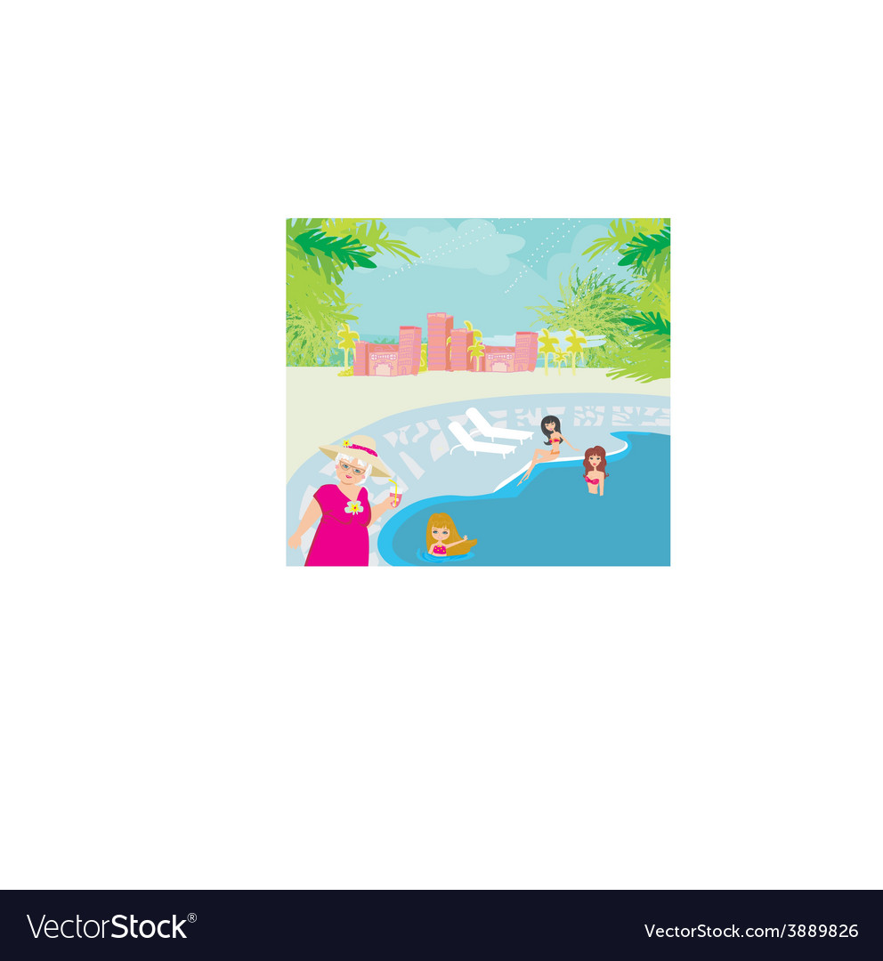 Vacation in a tropical resort vector | Price: 1 Credit (USD $1)