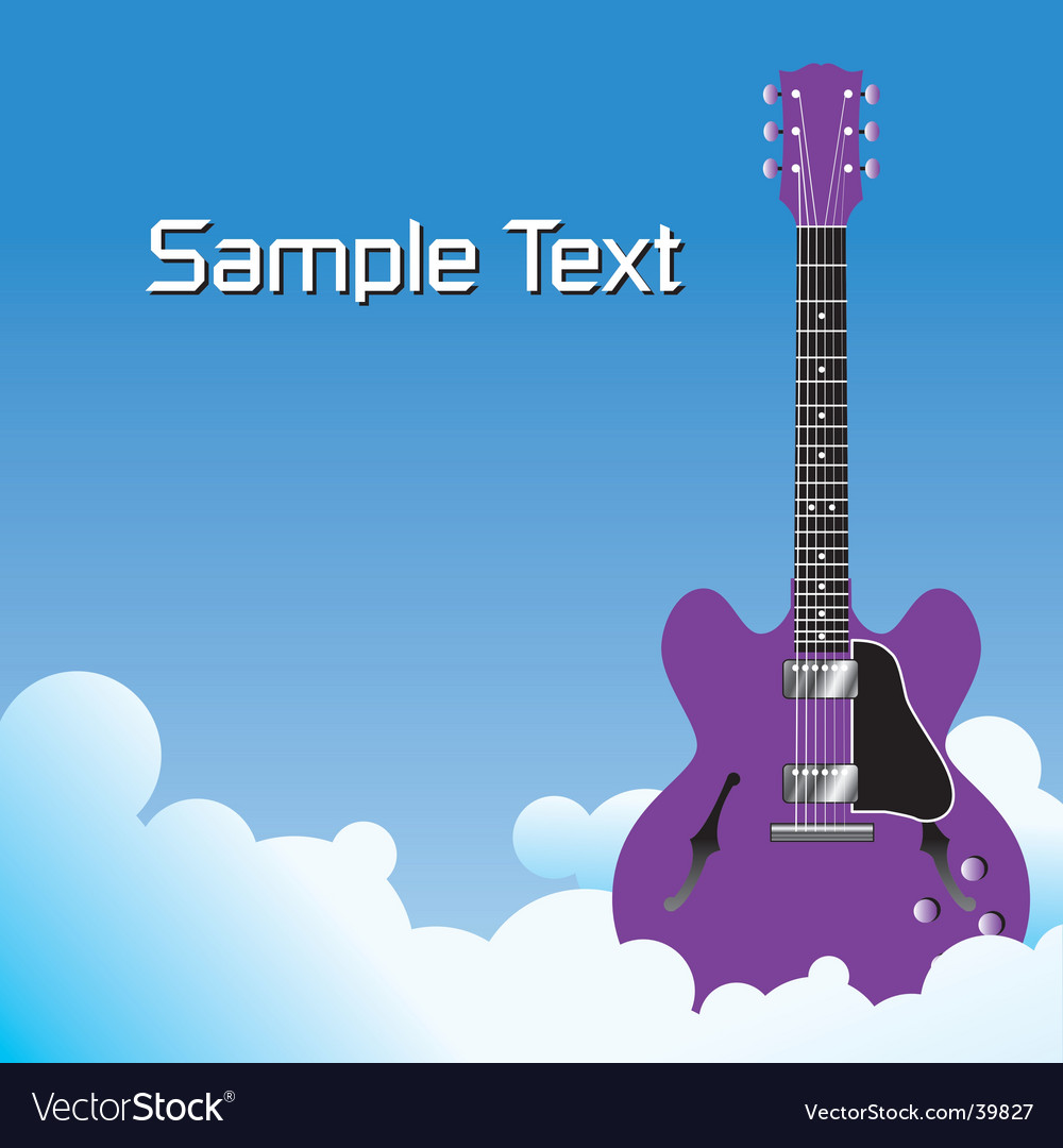 Clouds guitar background vector | Price: 1 Credit (USD $1)