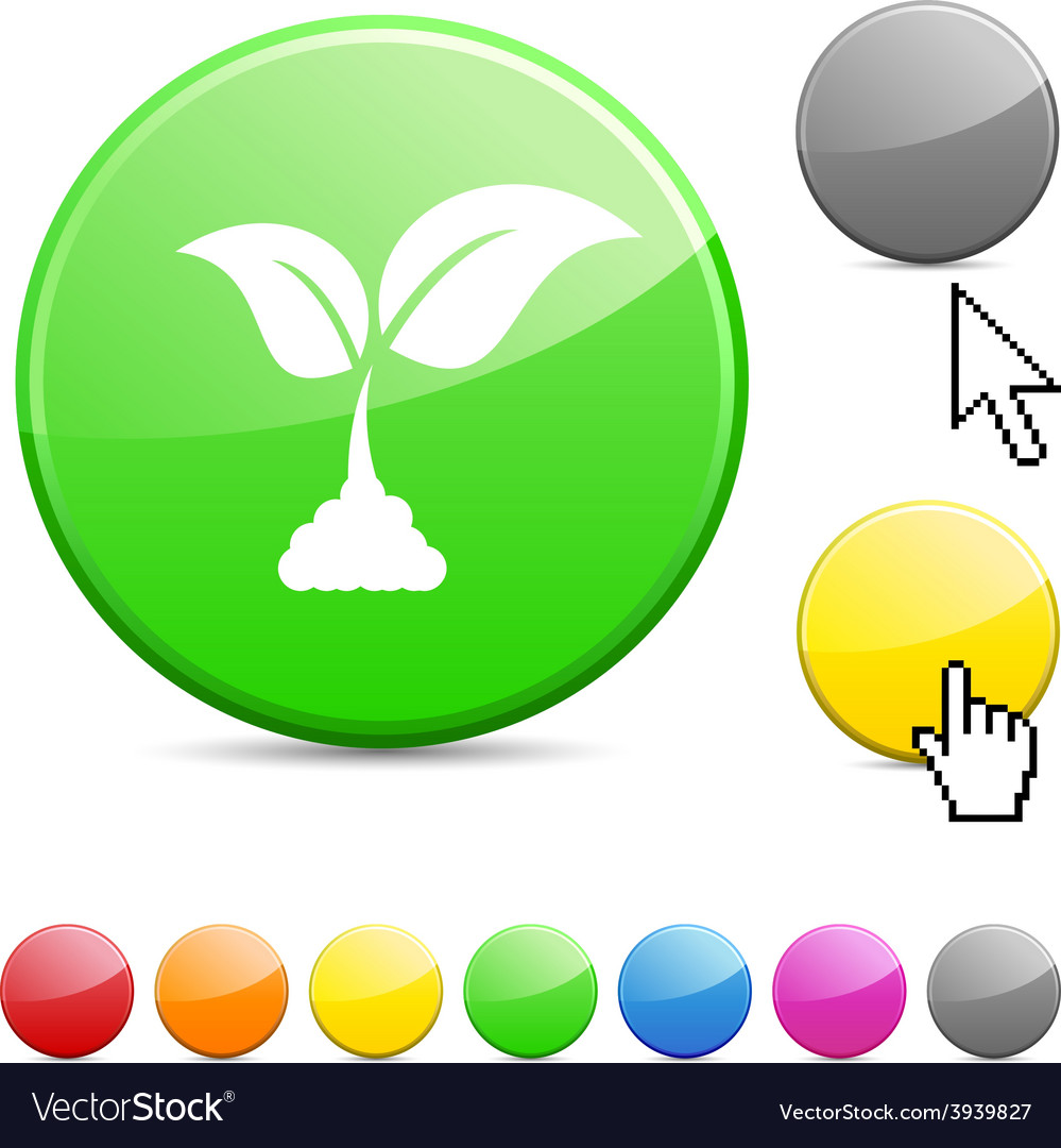 Ecology glossy button vector | Price: 1 Credit (USD $1)