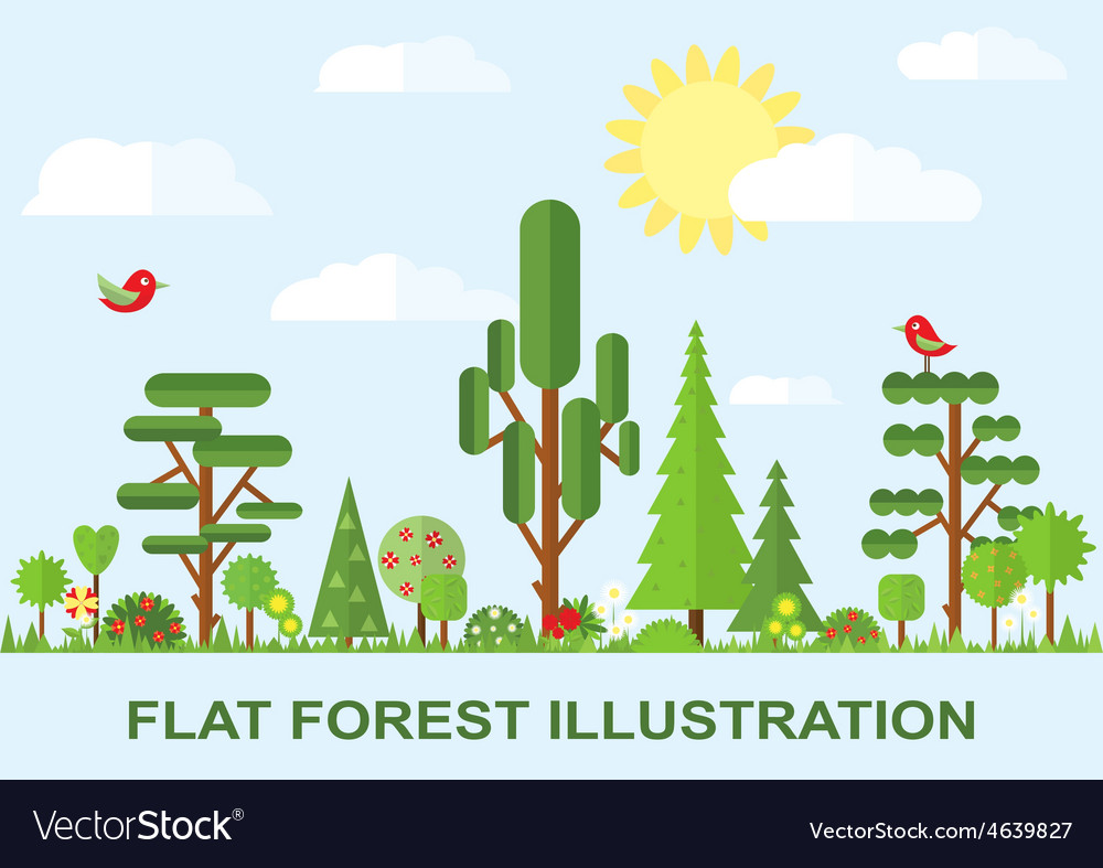 Flat tree spring flower spruce vector | Price: 1 Credit (USD $1)