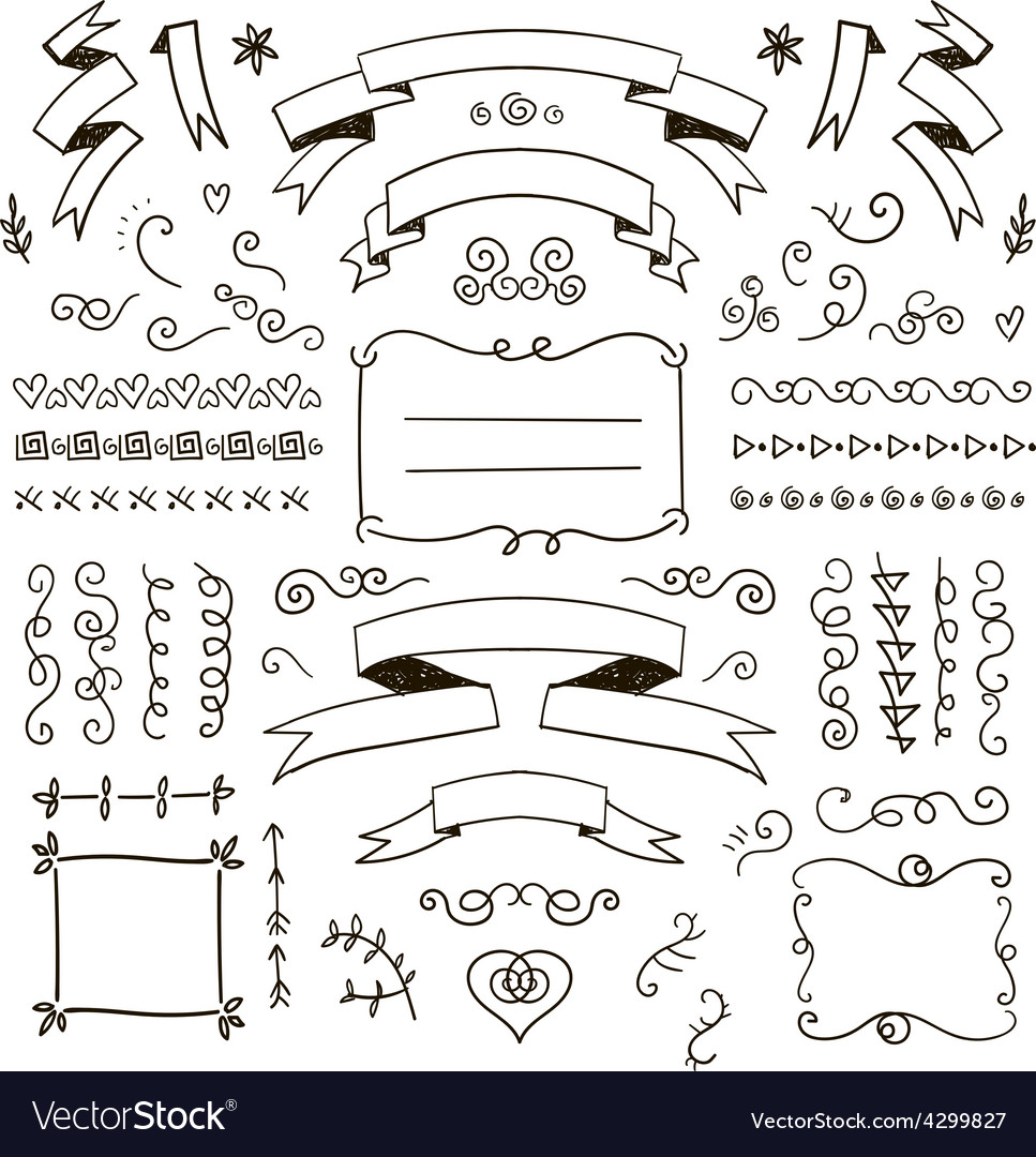 Floral decor set of hand drawn doodle vector | Price: 1 Credit (USD $1)