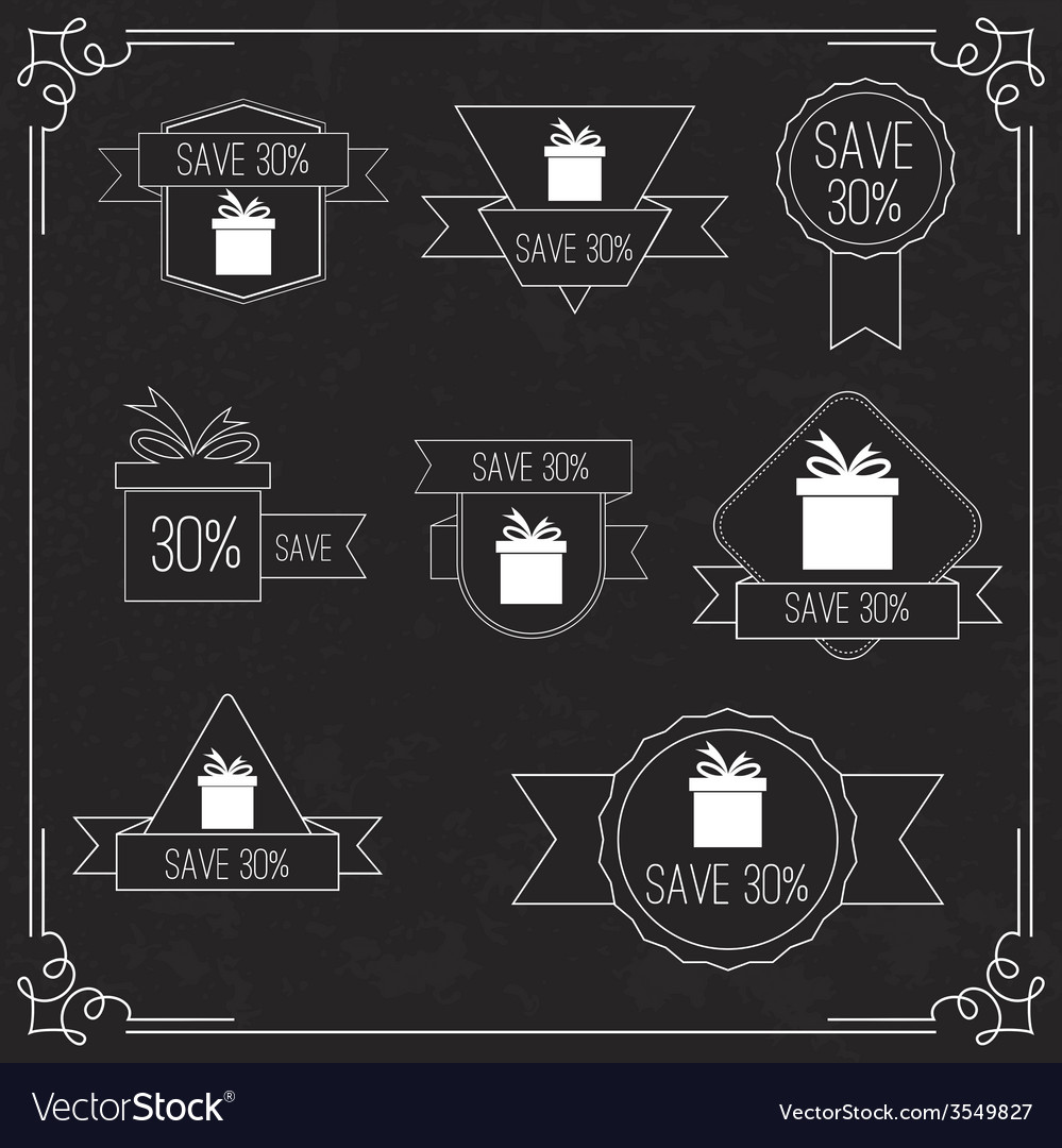 Gift stickers with discount offer vector | Price: 1 Credit (USD $1)