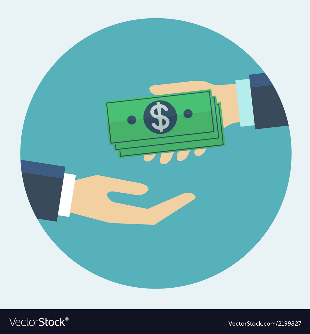 Hand giving money to other hand flat design vector | Price: 1 Credit (USD $1)