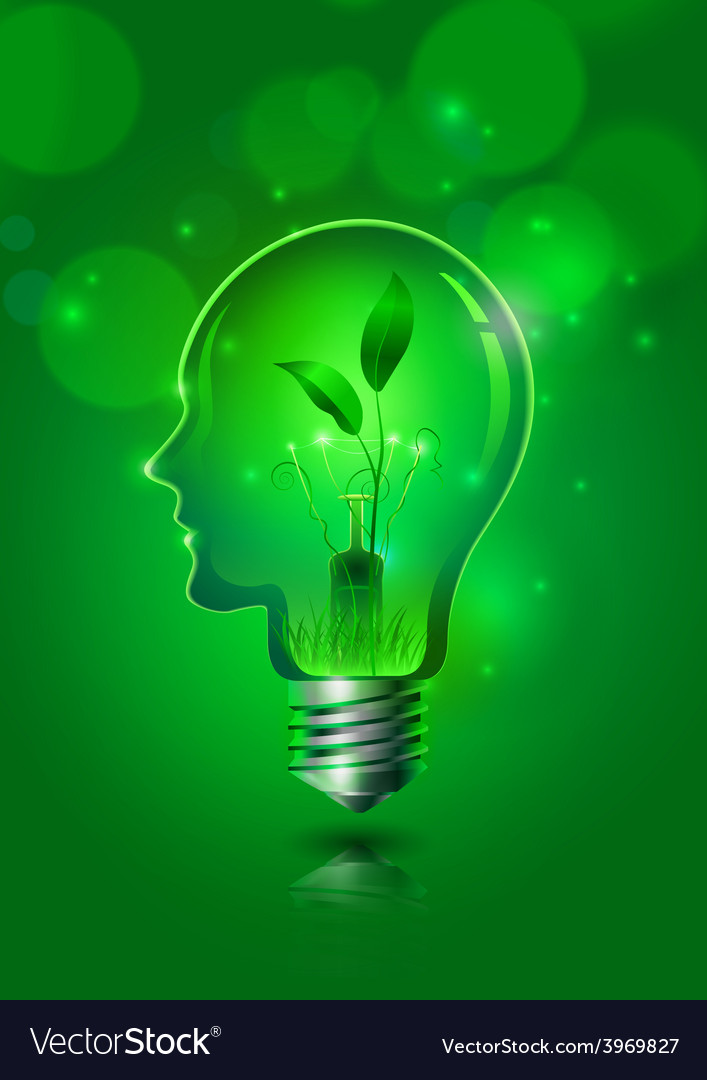 Human head light bulb save ecology concept vector | Price: 3 Credit (USD $3)