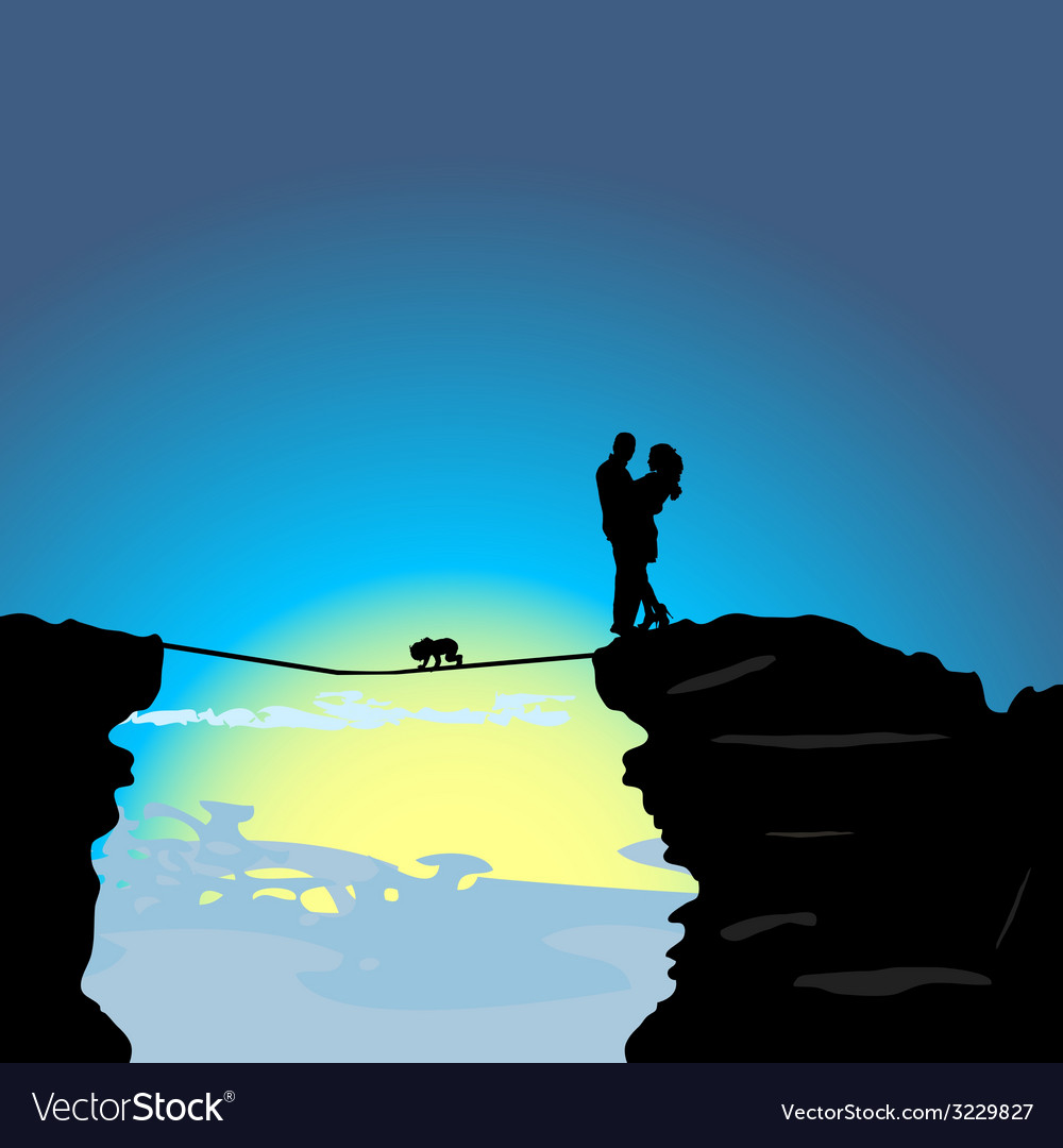 Man and girl on the mountain with baby vector | Price: 1 Credit (USD $1)