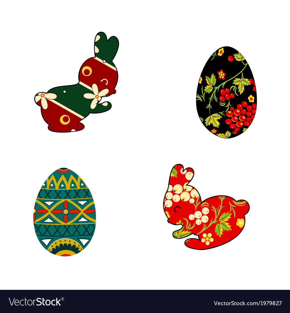 Rabbit and easter eggs folklore vector | Price: 1 Credit (USD $1)