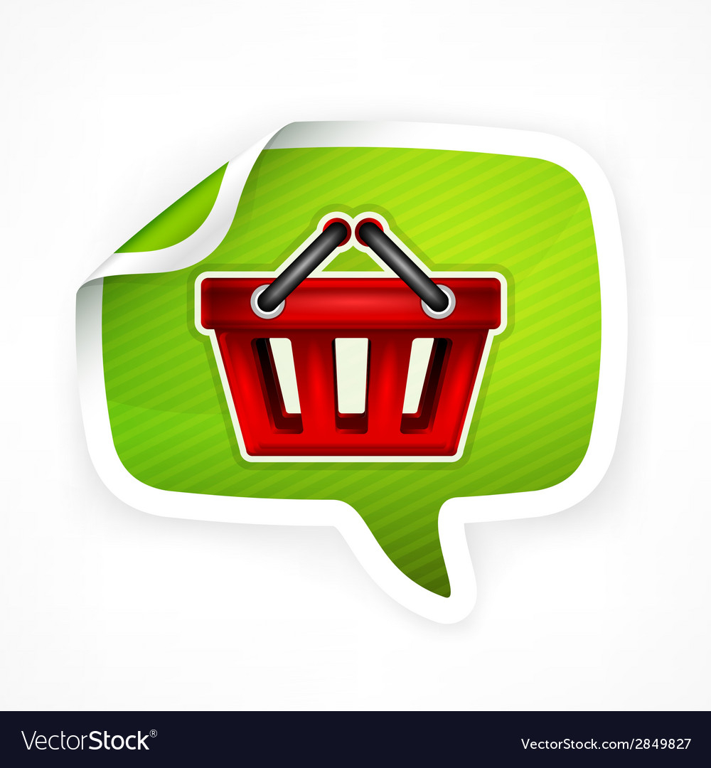 Shopping basket sticker vector | Price: 1 Credit (USD $1)