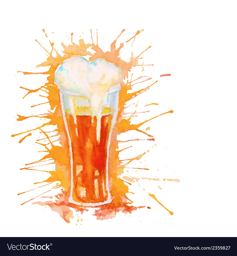 Watercolor glass of beer isolated on white vector | Price: 1 Credit (USD $1)