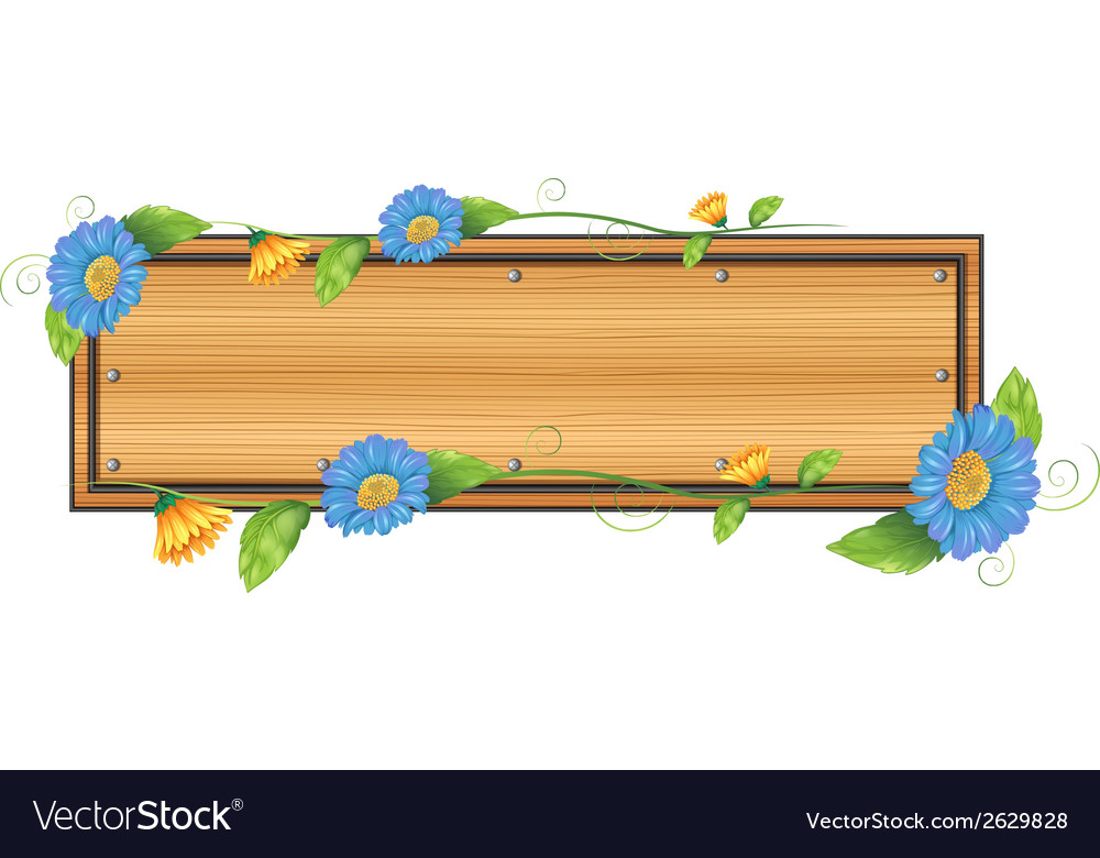 An empty signboard with flowers vector | Price: 1 Credit (USD $1)