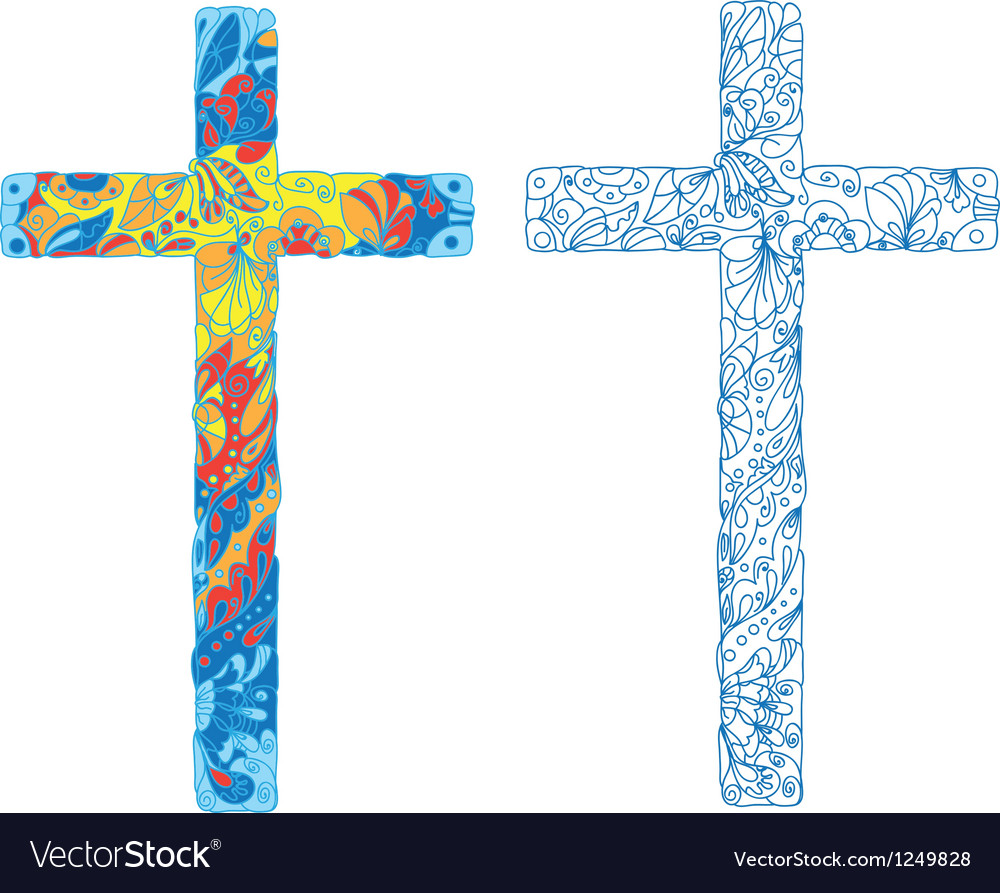 Catholic ornamented cross for easter holiday vector | Price: 1 Credit (USD $1)