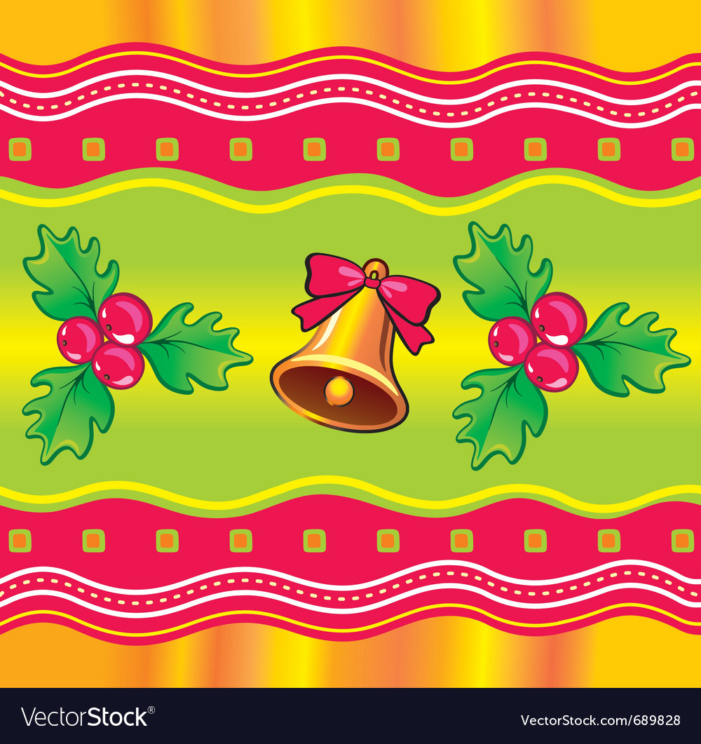 Christmas background with holly berry and bell vector | Price: 1 Credit (USD $1)