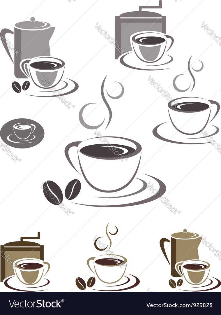 Coffee cup icons vector | Price:  Credit (USD $)