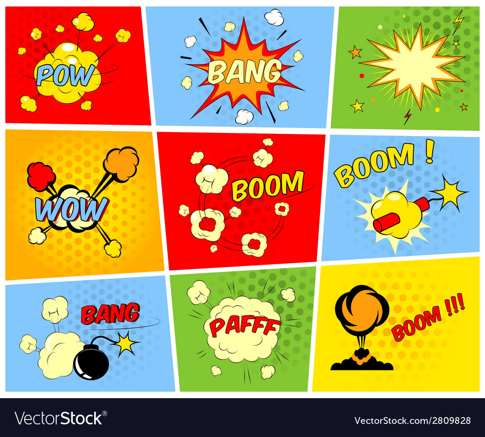 Comic boom or blast explosions vector | Price: 1 Credit (USD $1)