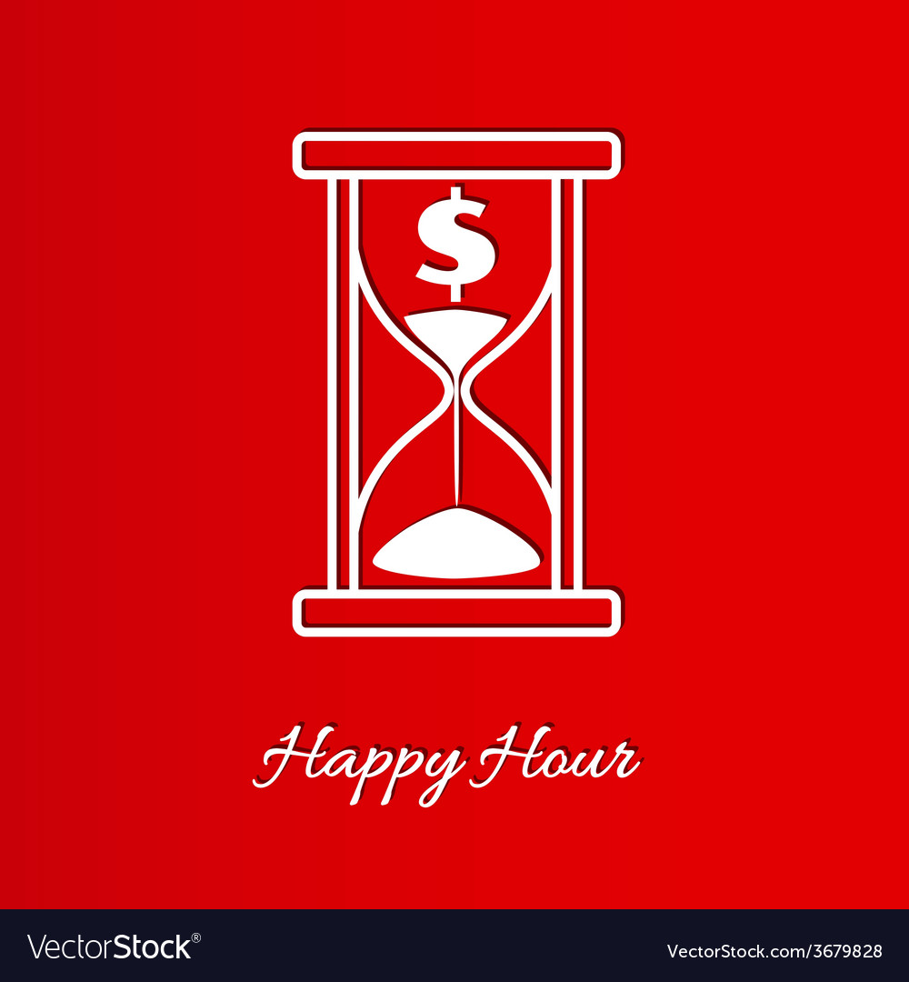 Happy hour background with sandglass vector | Price: 1 Credit (USD $1)