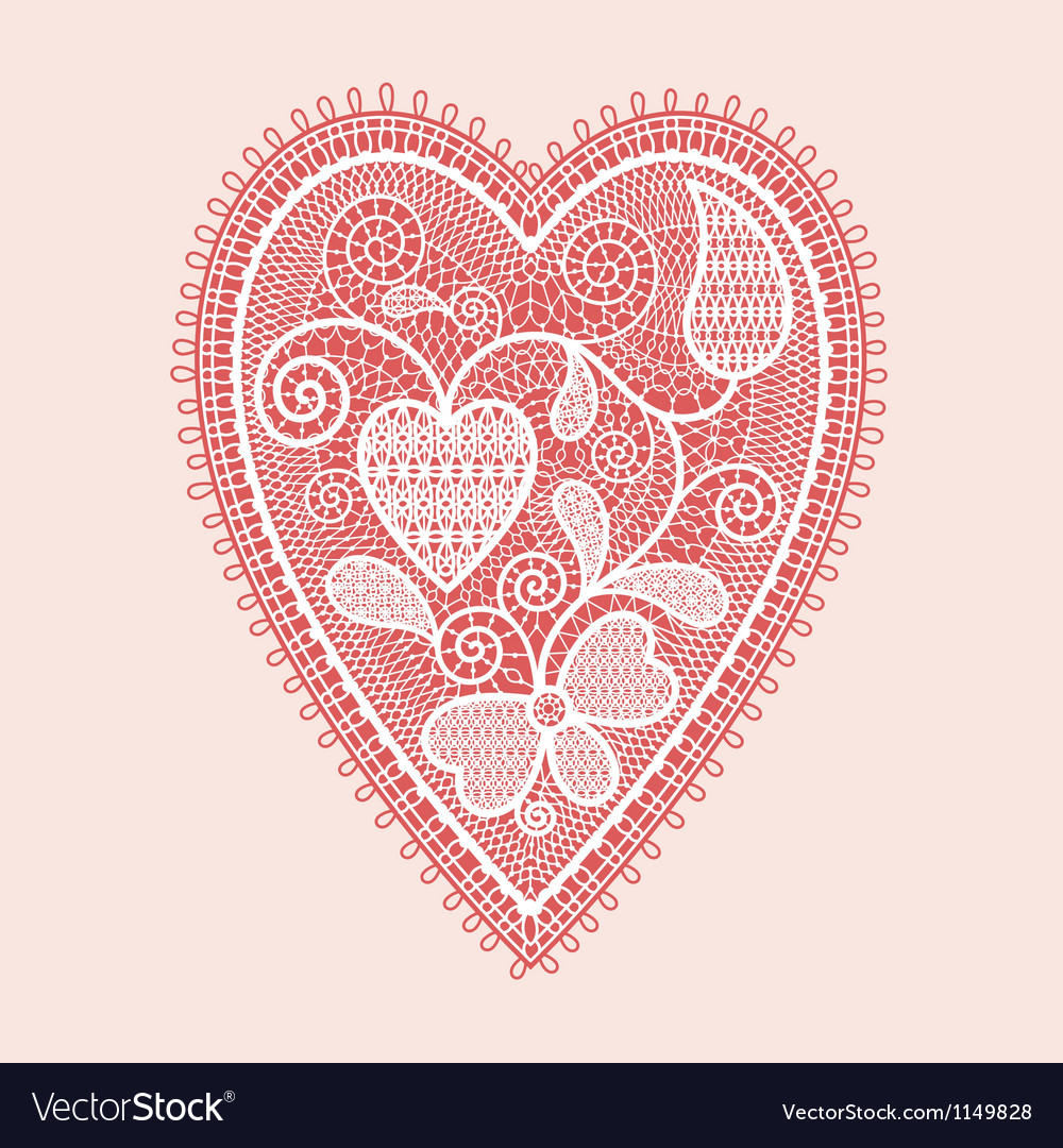 Lace heart valentines card vector | Price: 1 Credit (USD $1)