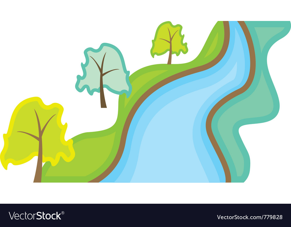 Landscape with trees and river vector | Price: 1 Credit (USD $1)