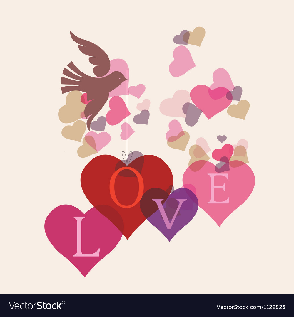 Love message card with birds vector | Price: 1 Credit (USD $1)
