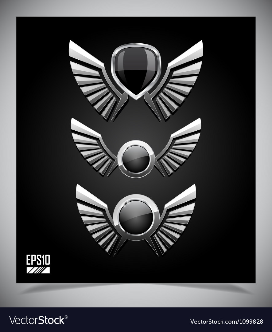Metal shield emblem with wings vector   Price: 1 Credit (USD $1)