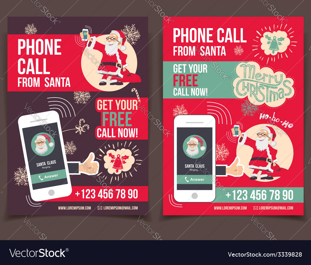 Phone call from santa fyers design vector | Price: 1 Credit (USD $1)