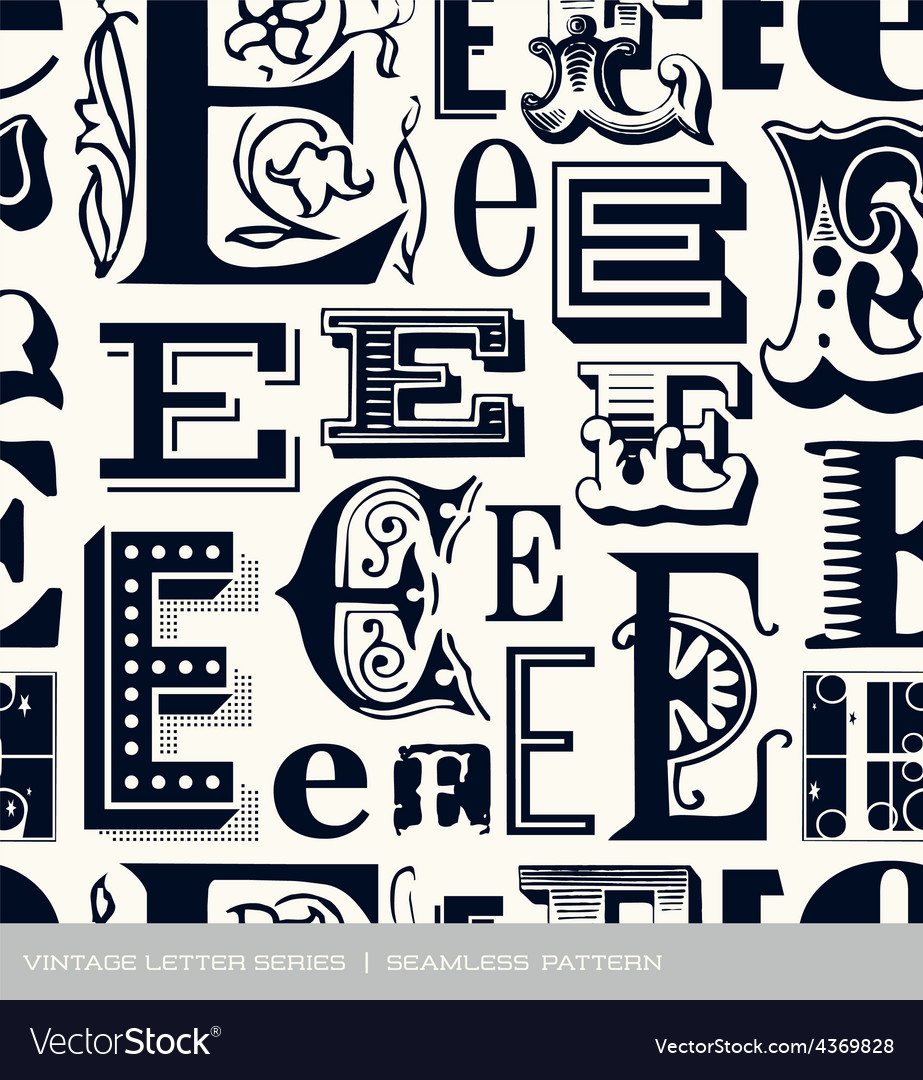 Seamless vintage pattern letter e vector | Price: 1 Credit (USD $1)