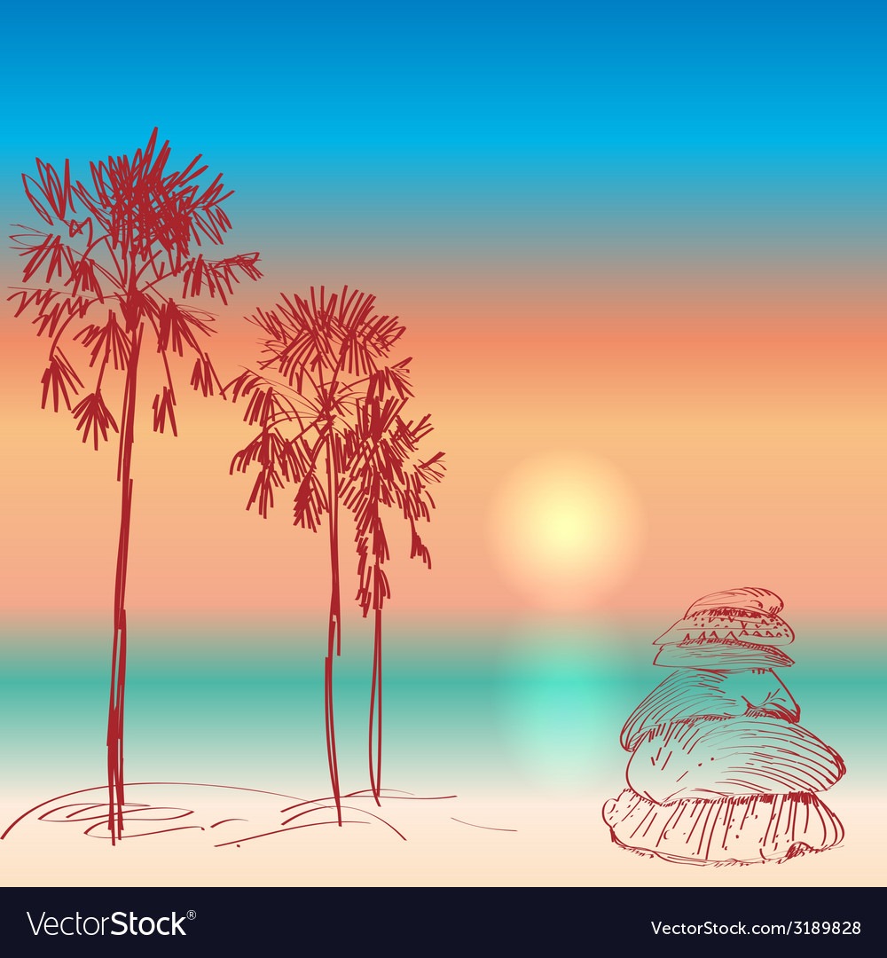Seascape with palm trees and seashells sunset on vector | Price: 1 Credit (USD $1)