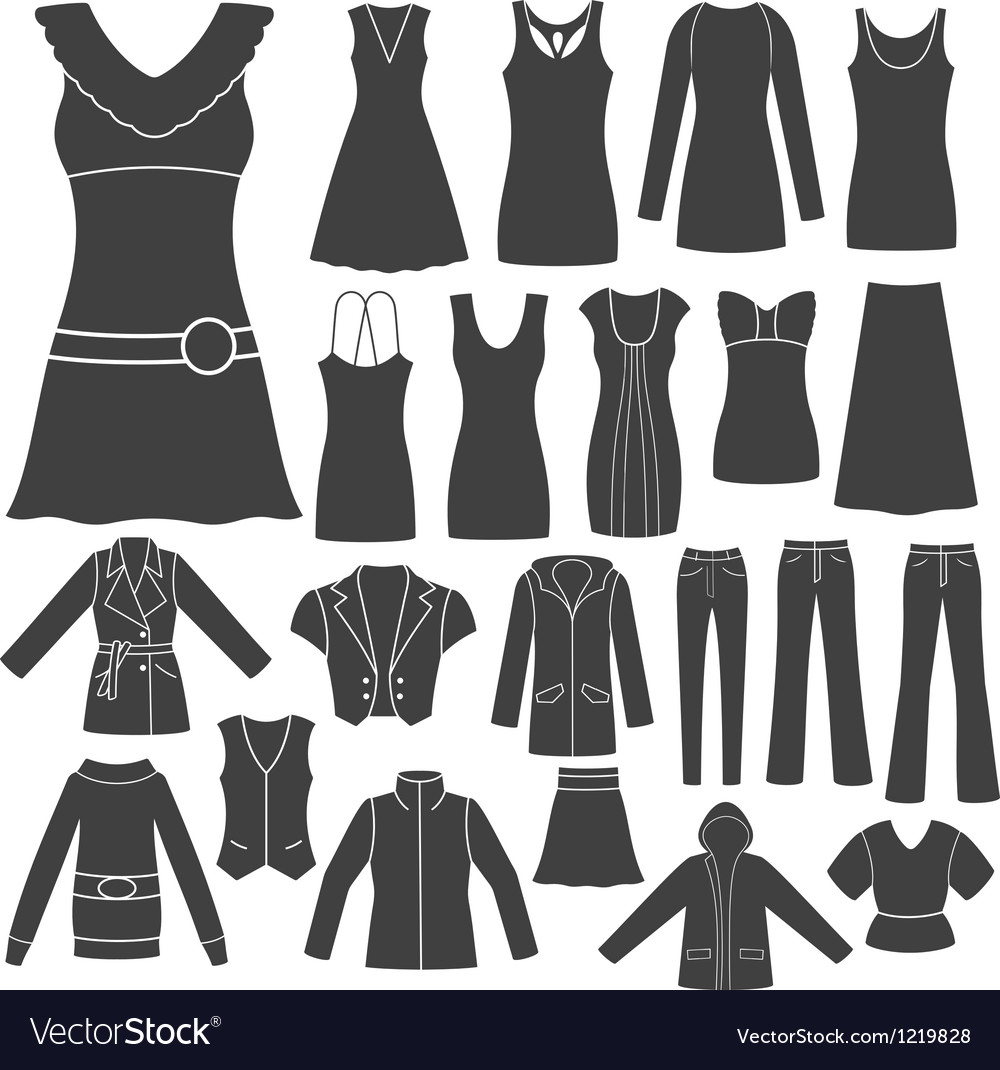 Set of women s clothing vector | Price: 1 Credit (USD $1)