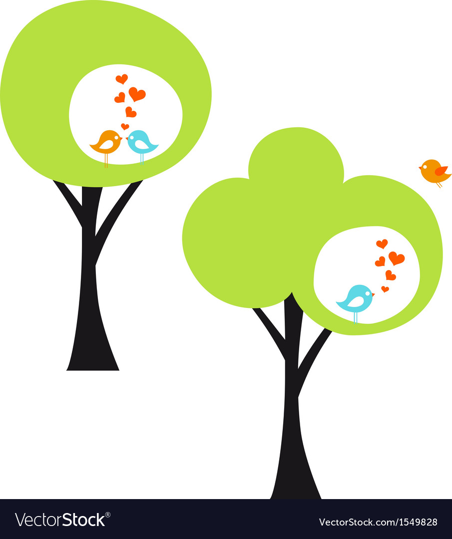 Tree with love birds vector | Price: 1 Credit (USD $1)