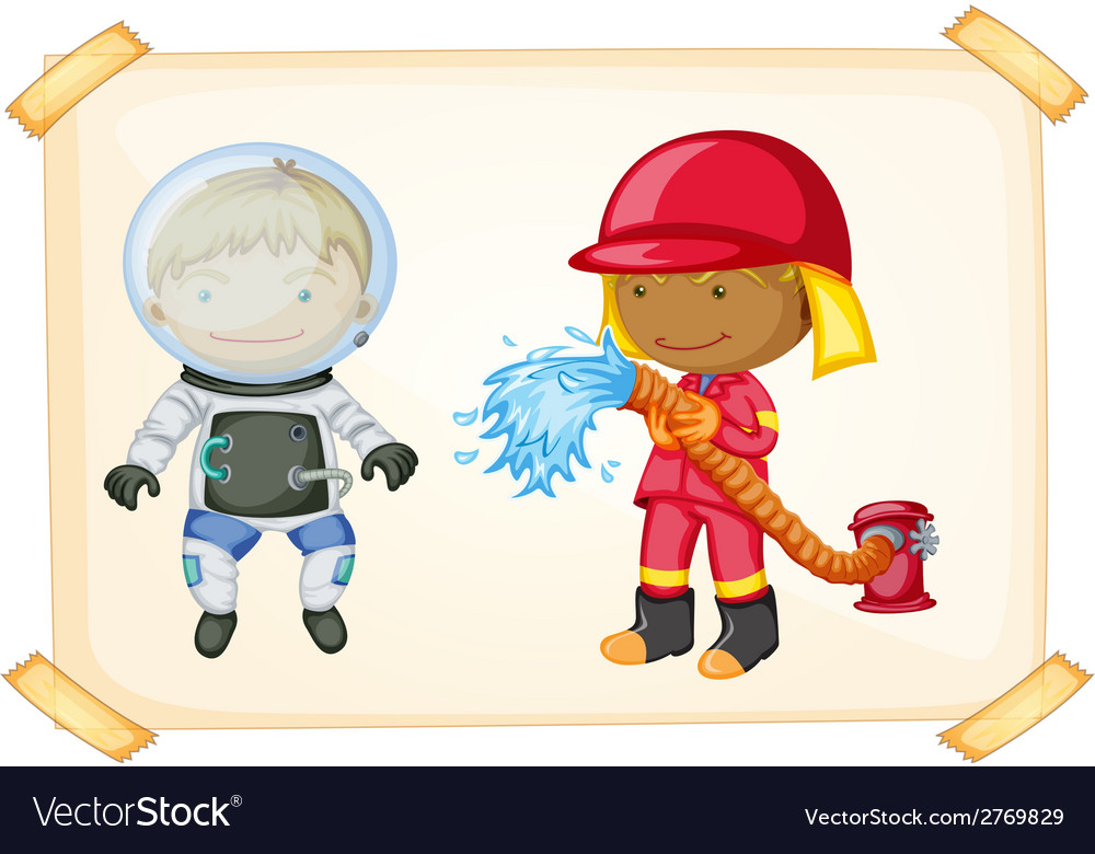 Astronaut and firefighter vector | Price: 1 Credit (USD $1)