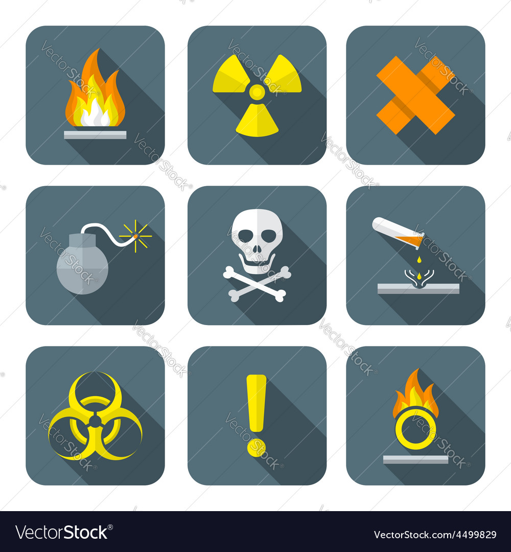 Colorful flat style hazardous waste symbols vector | Price: 1 Credit (USD $1)